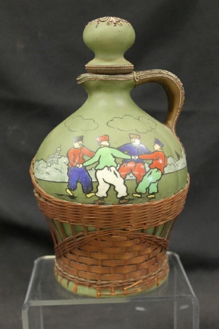 Nippon Blue Maple Leaf whiskey jug with Russian