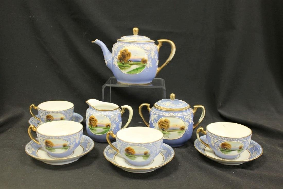 Nippon Green M in wreath Wedgewood style tea set with