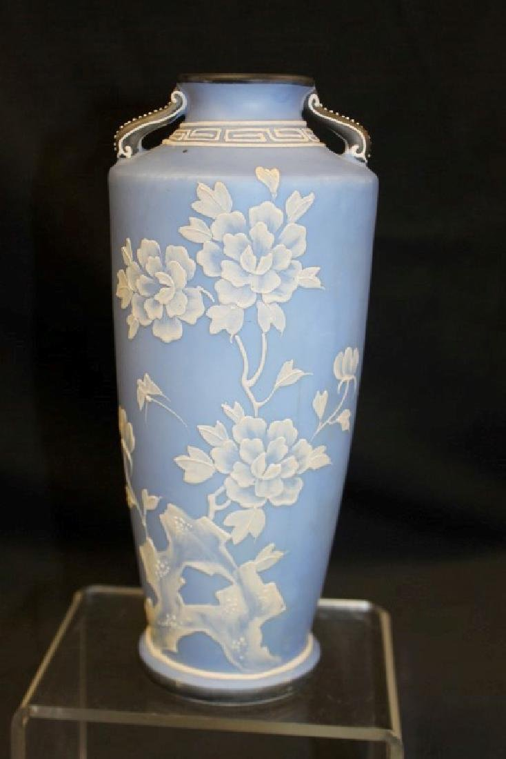 "Unmarked Nippon 8 1/2"" Wedgewood style 2-handle vase"