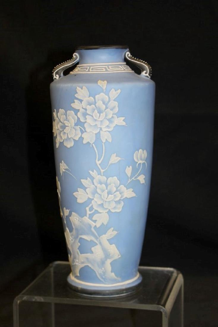 "Unmarked Nippon 8 1/2"" Wedgewood style 2-handle vase - 2"