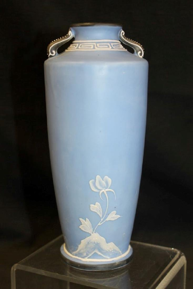 "Unmarked Nippon 8 1/2"" Wedgewood style 2-handle vase - 3"