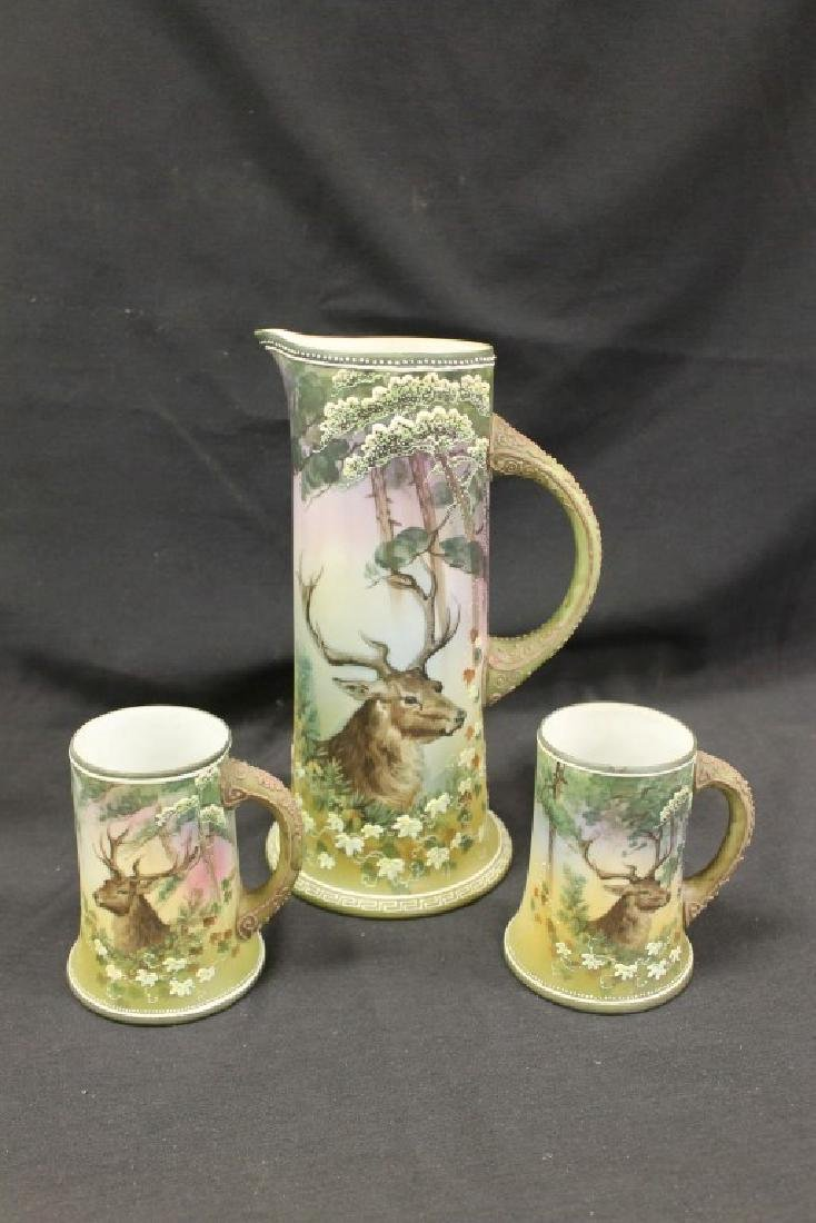 "Nippon Green M in wreath ""Christmas Deer"" 11"" tankard"