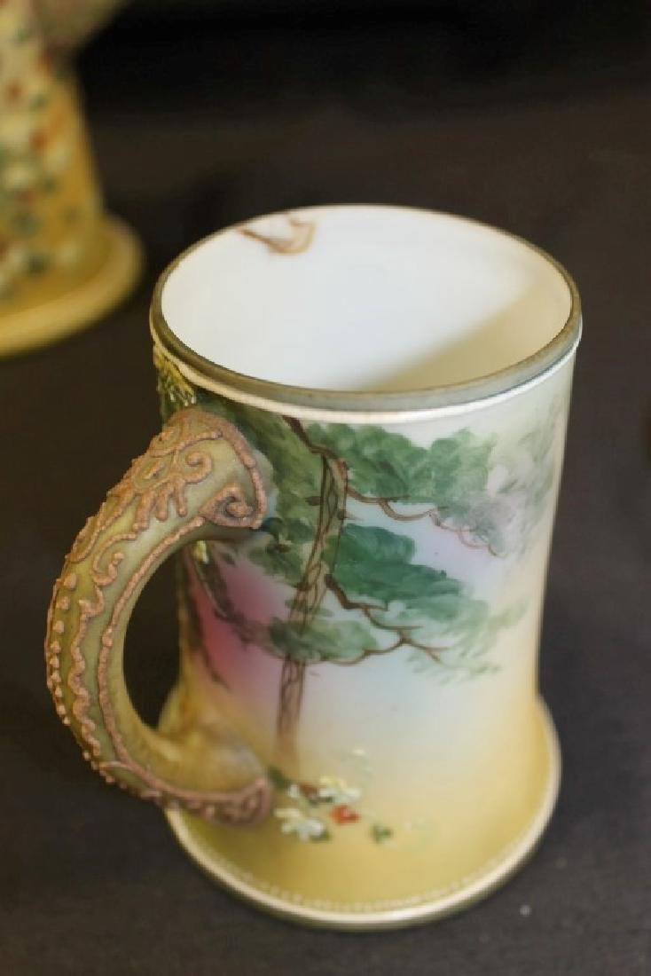 "Nippon Green M in wreath ""Christmas Deer"" 11"" tankard - 2"