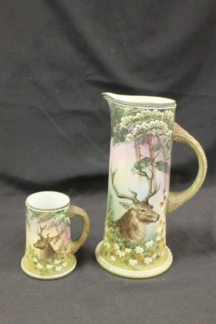 "Nippon Green M in wreath ""Christmas Deer"" 11"" tankard - 3"