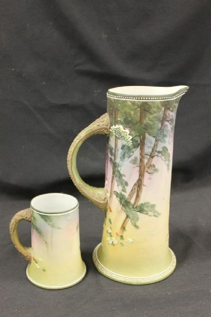 "Nippon Green M in wreath ""Christmas Deer"" 11"" tankard - 5"