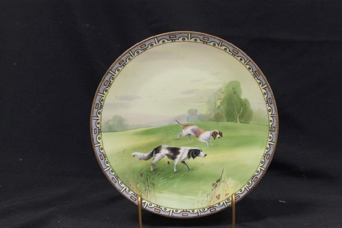 """Nippon Green M in wreath 10 1/8"""" plaque with hunting"""