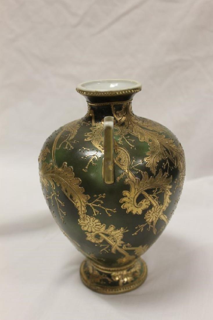 "Nippon Green Maple Leaf 8 1/4"" gold leaf swirl 2-handle - 2"