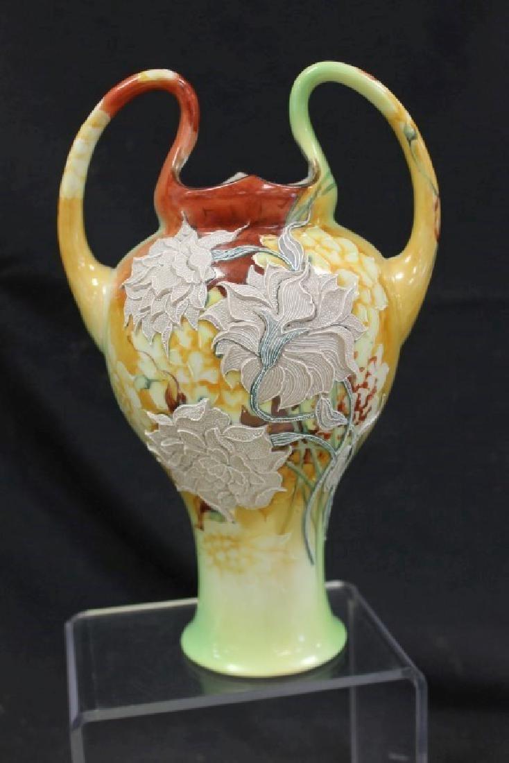 """Nippon 10 1/4"""" loop handle vase with fantastic moriage"""