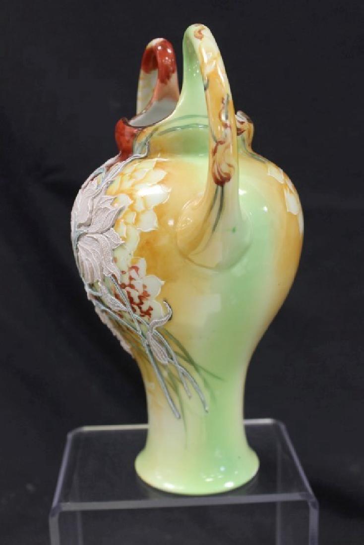 """Nippon 10 1/4"""" loop handle vase with fantastic moriage - 2"""