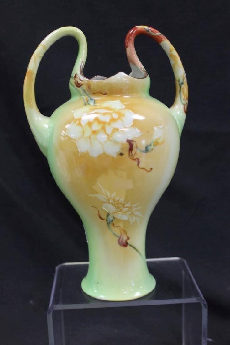 """Nippon 10 1/4"""" loop handle vase with fantastic moriage - 3"""