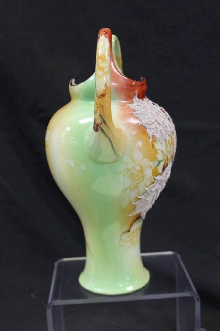 """Nippon 10 1/4"""" loop handle vase with fantastic moriage - 4"""