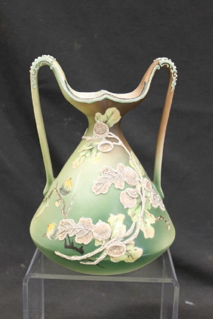"Unmarked Nippon 8 1/4"" loop handle vase with moriage"