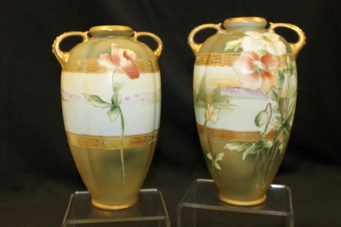 "Nippon 9 3/4"" pair of dragon handle vases with poppy"