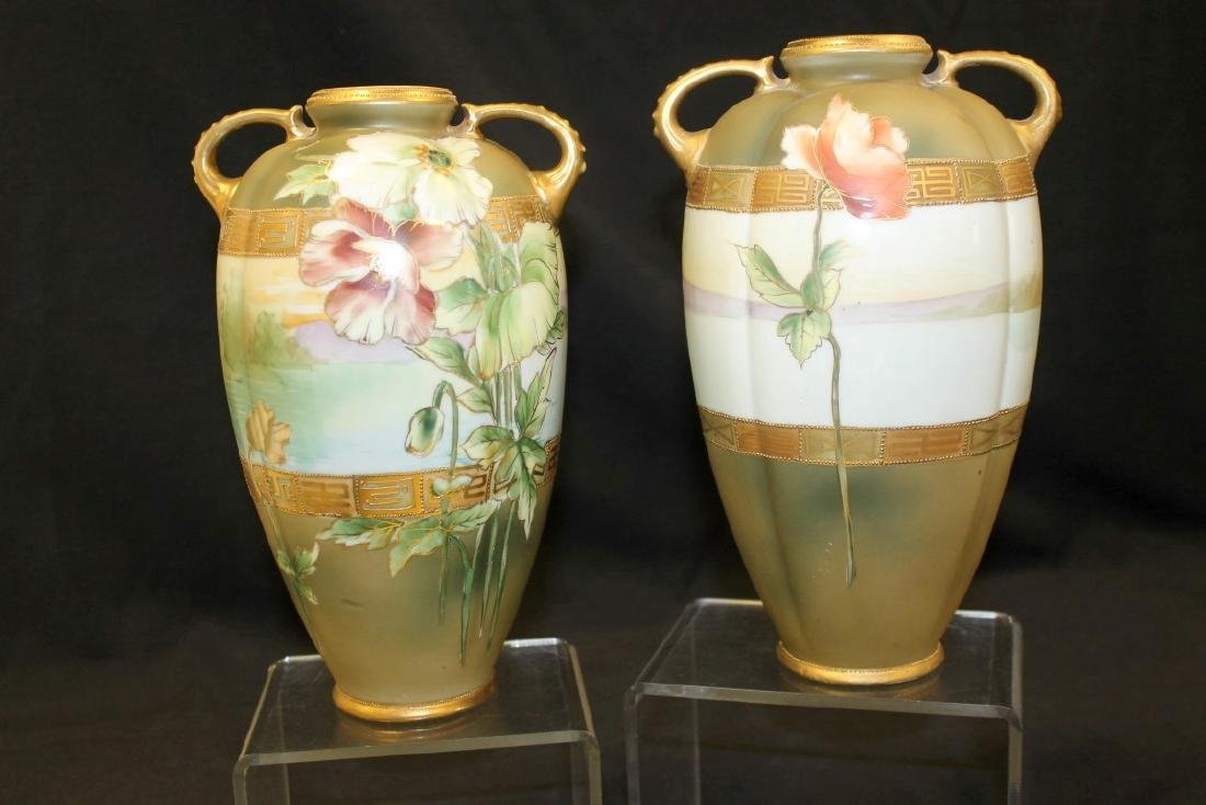 "Nippon 9 3/4"" pair of dragon handle vases with poppy - 2"