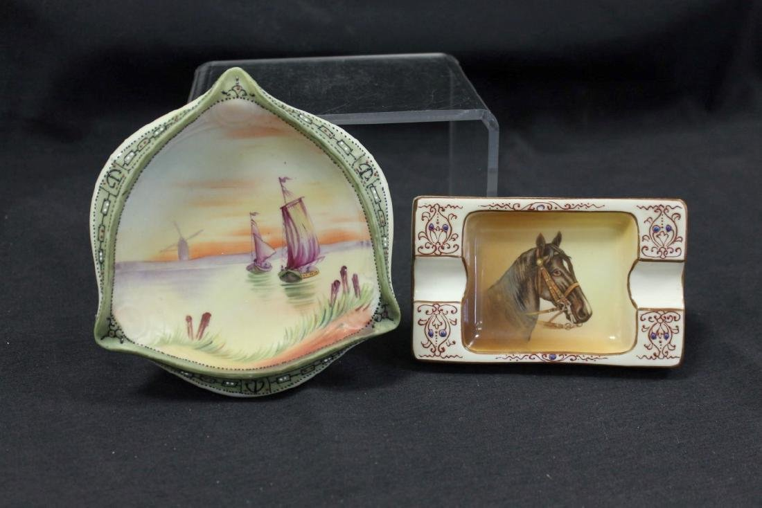 """(2) Nippon Green M in wreath ashtrays:  5 1/2"""" sunset"""