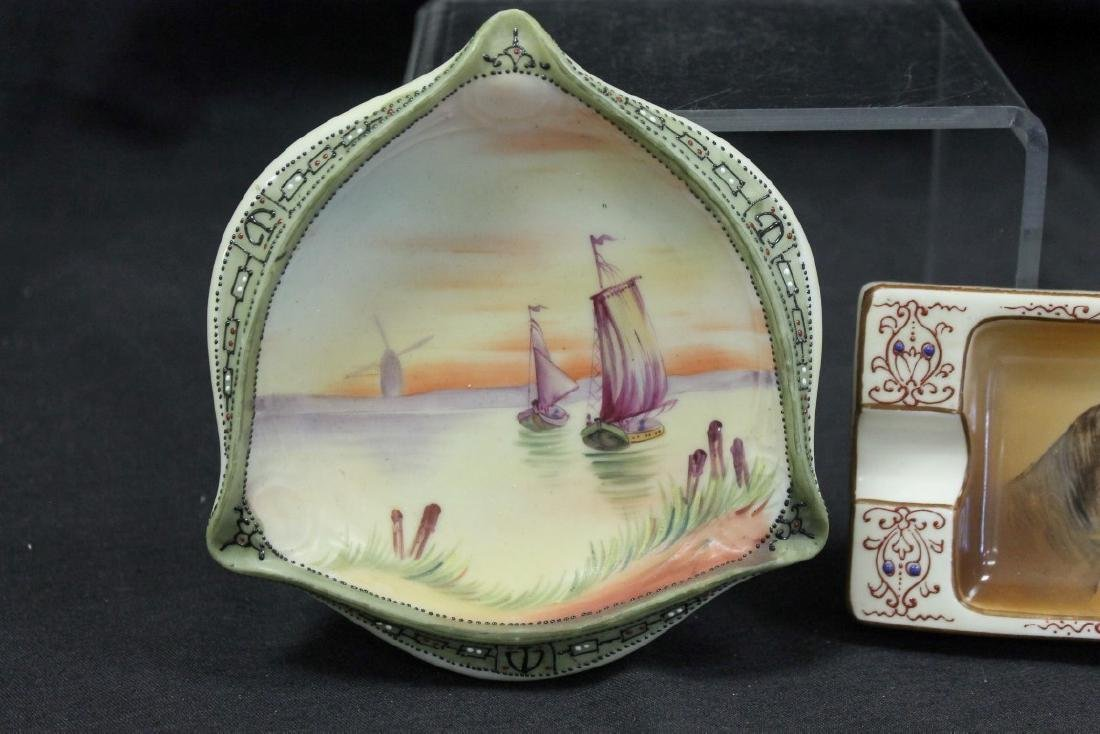 """(2) Nippon Green M in wreath ashtrays:  5 1/2"""" sunset - 2"""