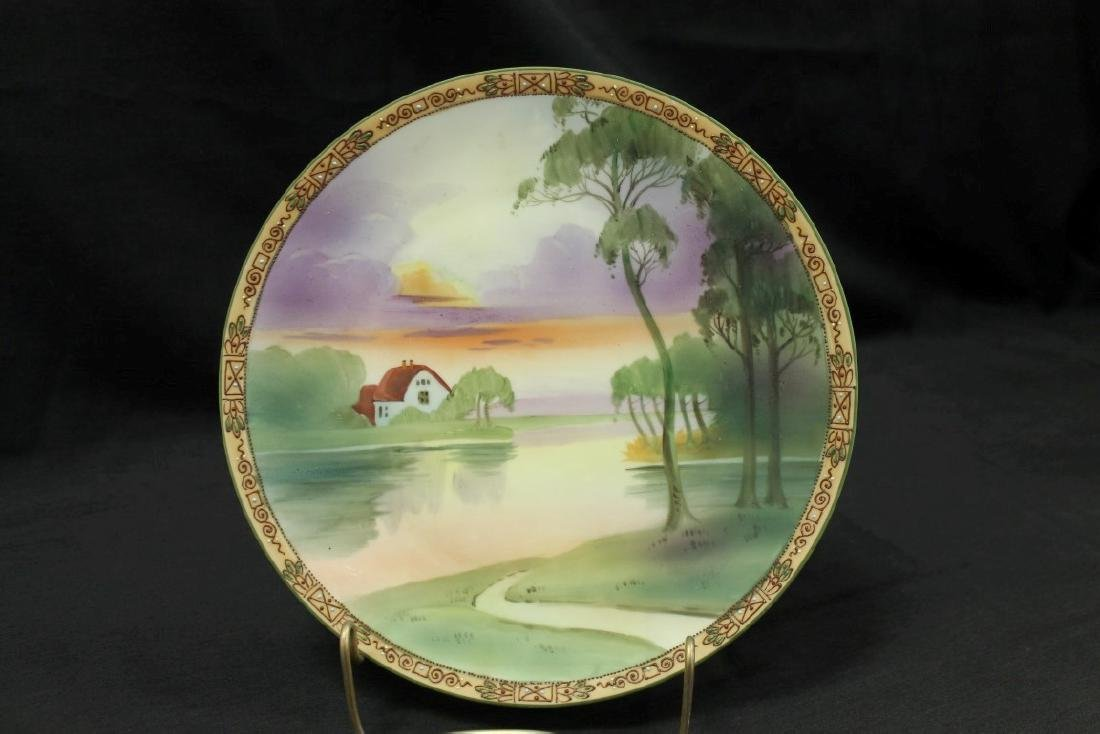 """Nippon Green M in wreath 10 1/4"""" plaque with lake side"""