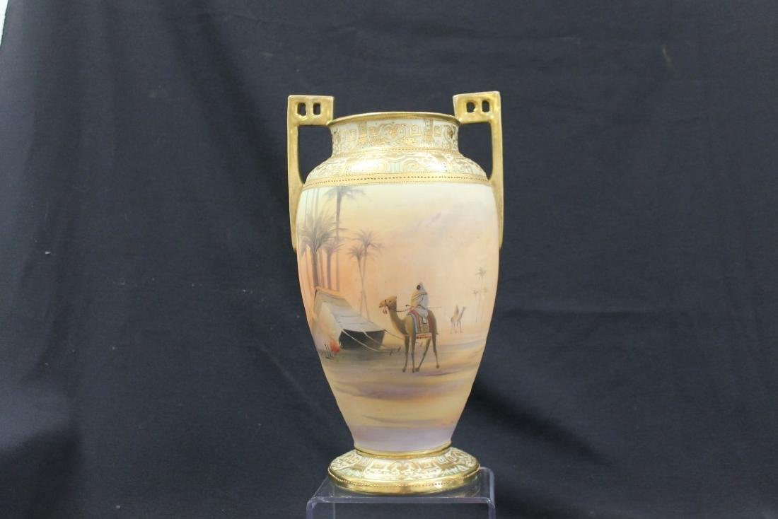 """Unmarked Nippon Man on Camel 13 1/2"""" 2-handle vase with"""