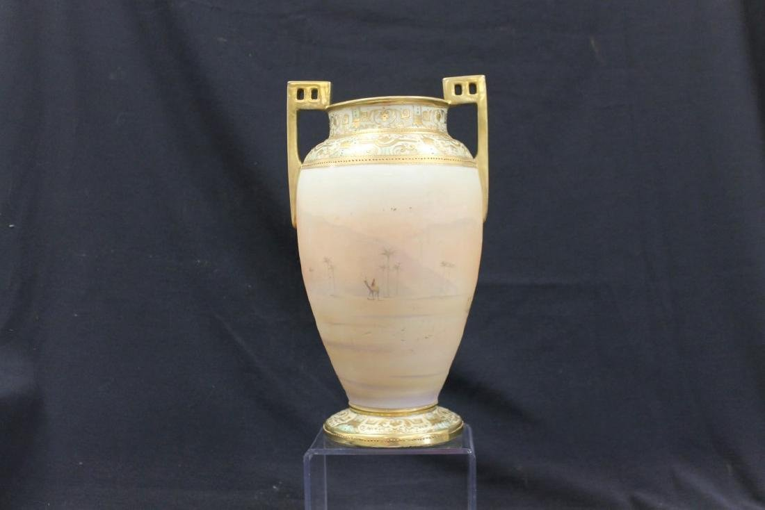 """Unmarked Nippon Man on Camel 13 1/2"""" 2-handle vase with - 2"""