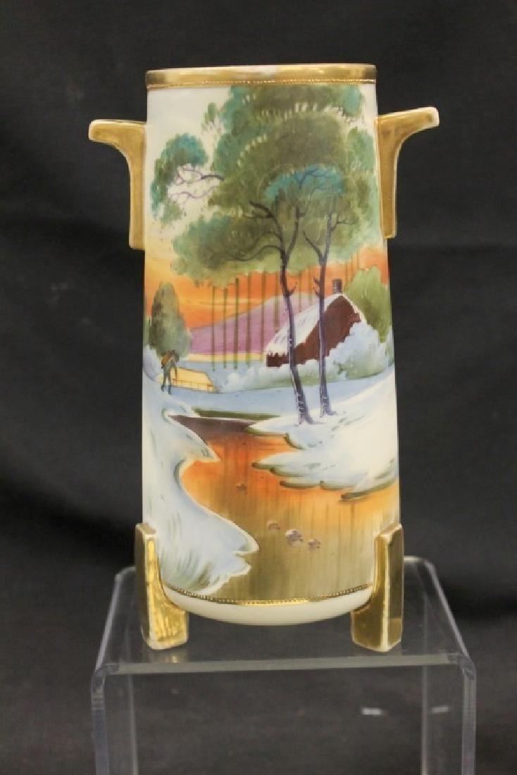 "Nippon Blue Maple Leaf 9"" matte finish vase with"