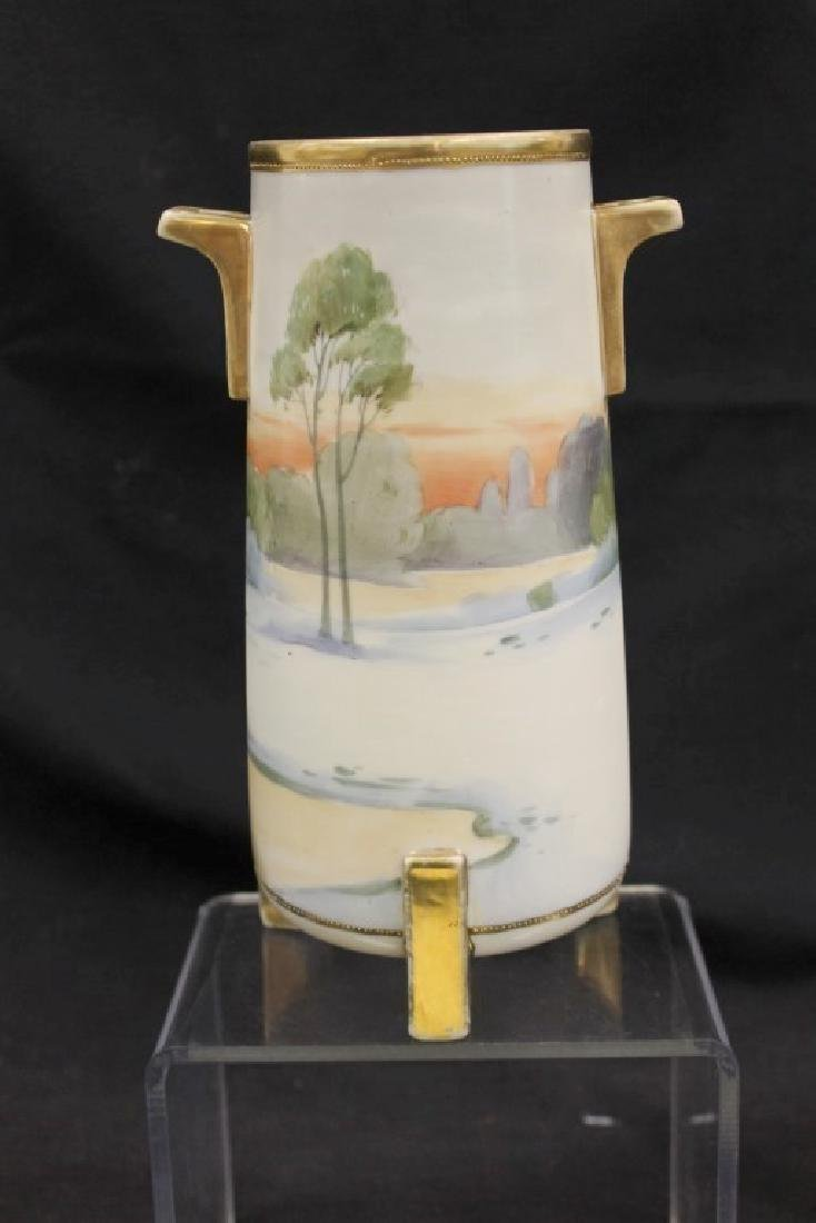"Nippon Blue Maple Leaf 9"" matte finish vase with - 3"