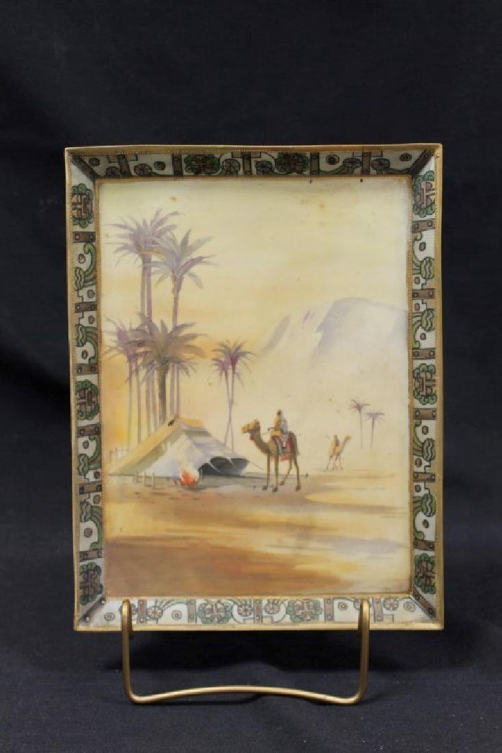 Nippon Green M in wreath with Man on camel in camp with