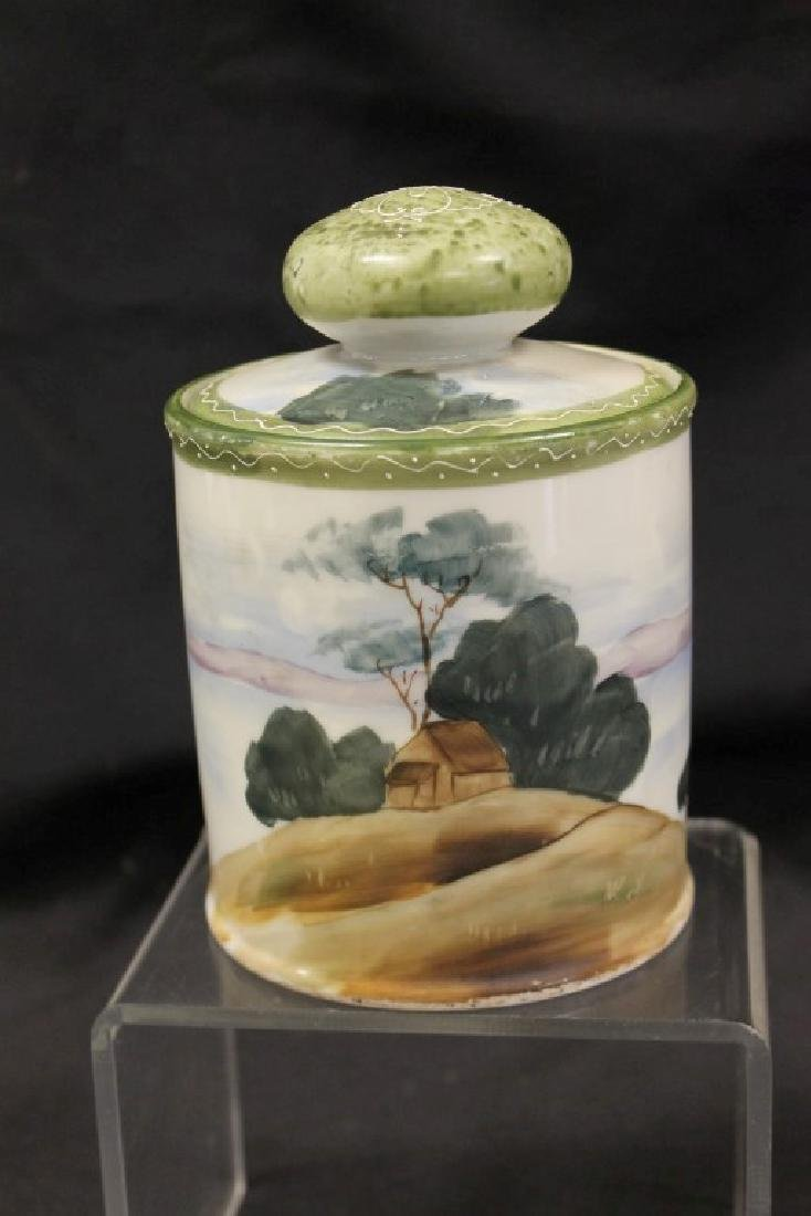"""China E-Oh Hand Painted Nippon 6 1/2"""" humidor with"""
