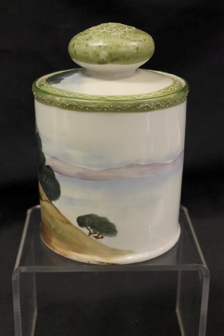 """China E-Oh Hand Painted Nippon 6 1/2"""" humidor with - 4"""