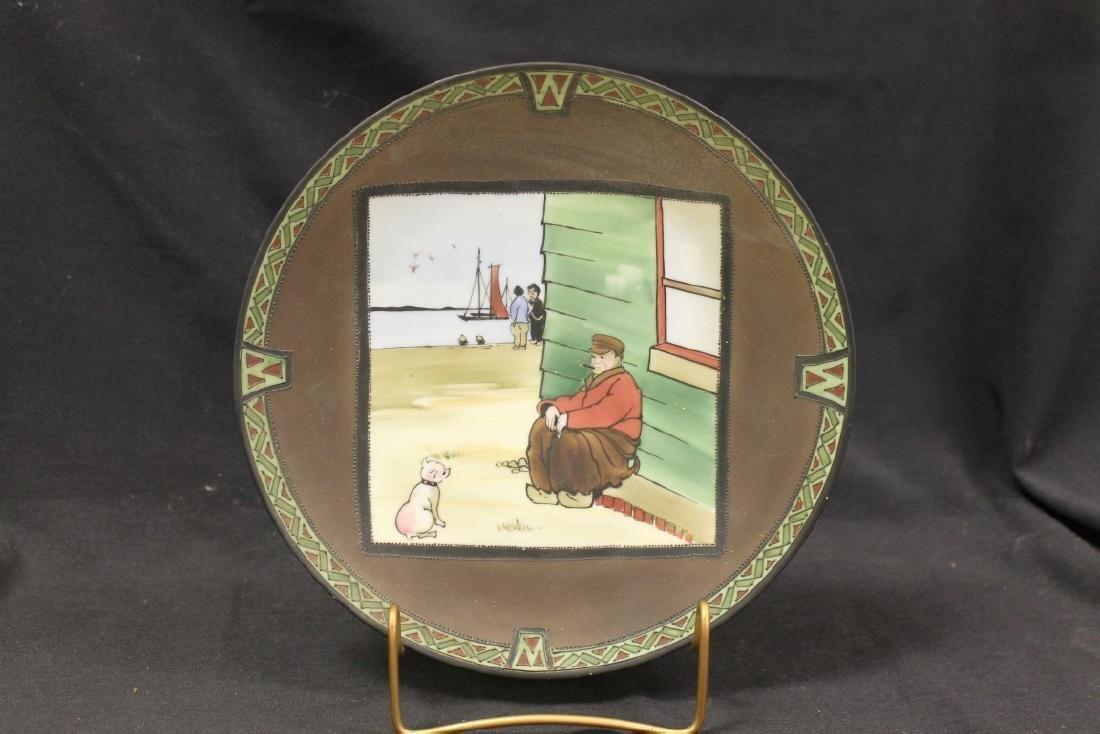 "Unmarked Nippon  10 1/4"" plaque in ""Man's Best Friend"""