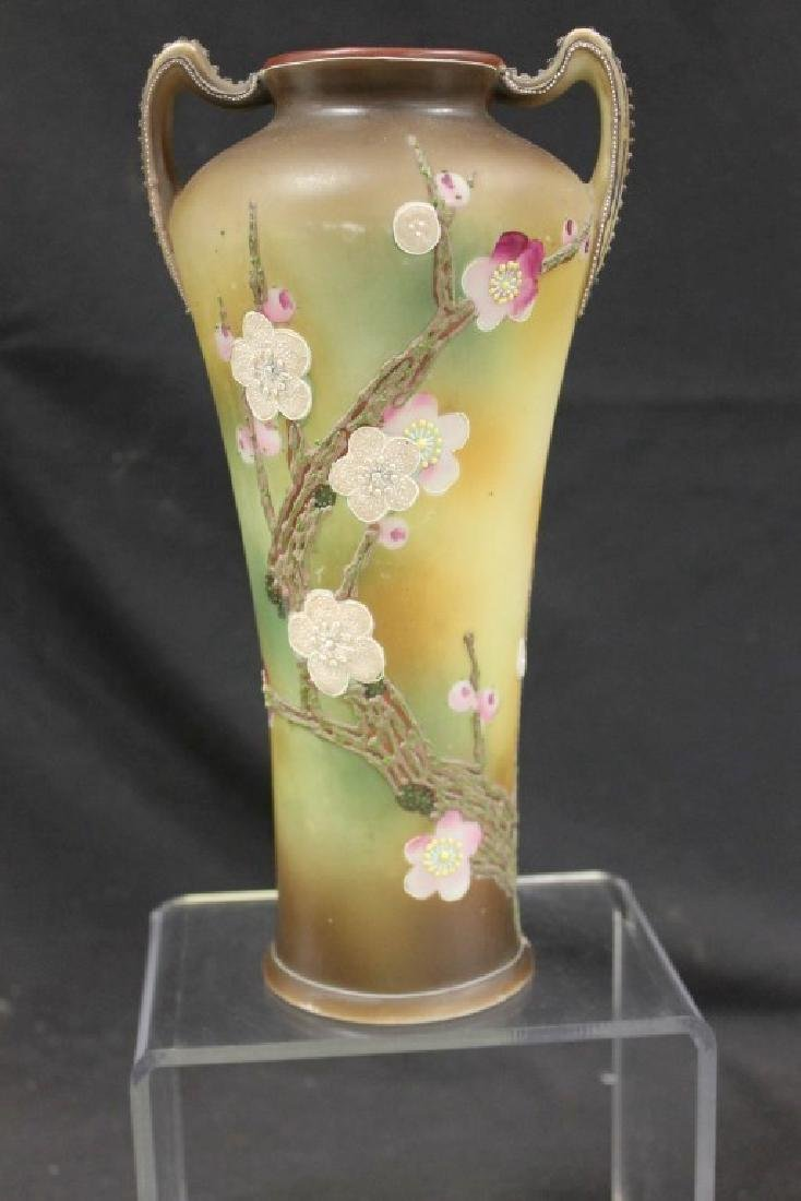 "Unmarked Nippon 10"" vase with moriage Dogwood branches"