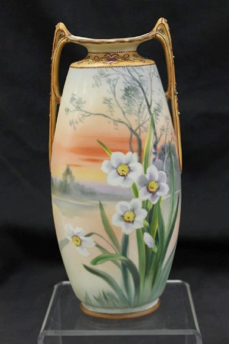 """Nippon Green M in wreath 10"""" bisque scenic vase with"""