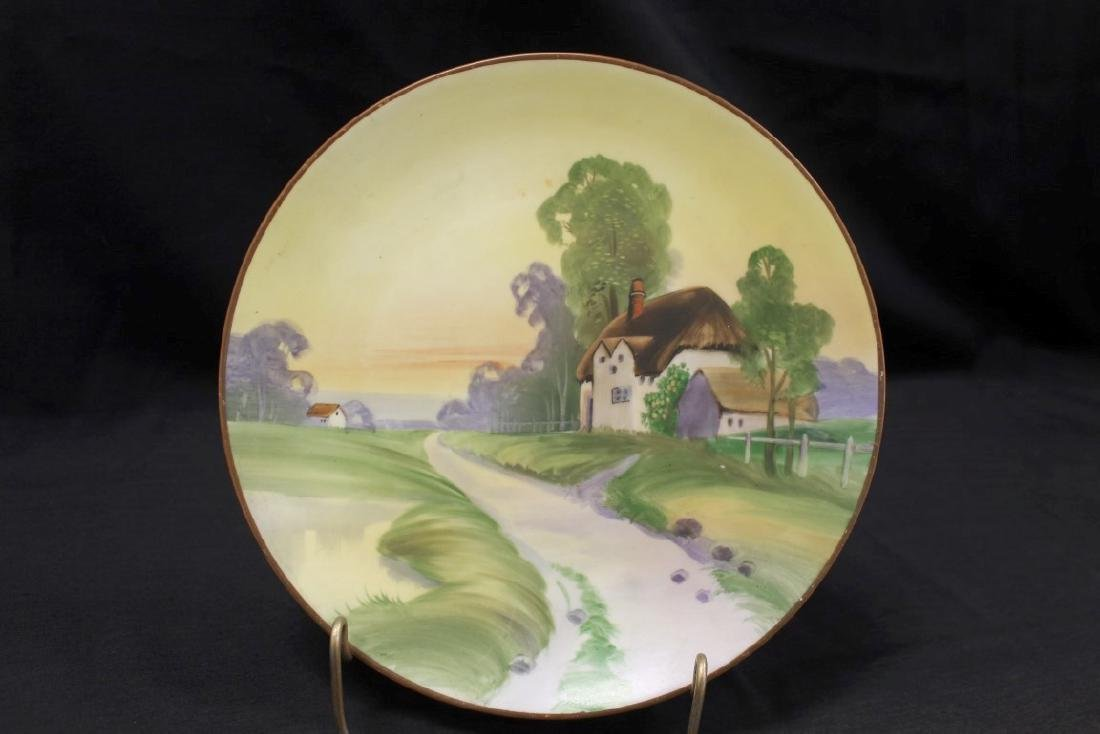 "Nippon Green M in wreath 10"" plate with road side"
