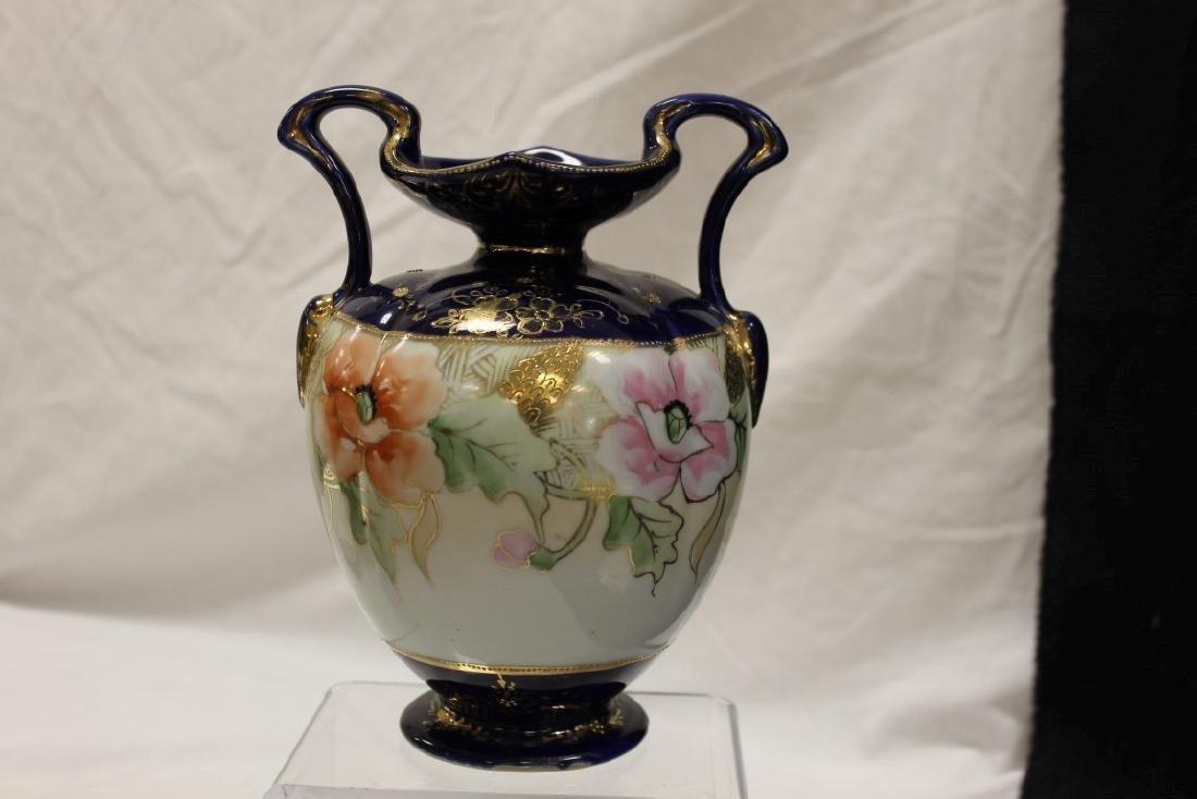 Nippon Blue M in wreath cobalt banded 2-handle vase