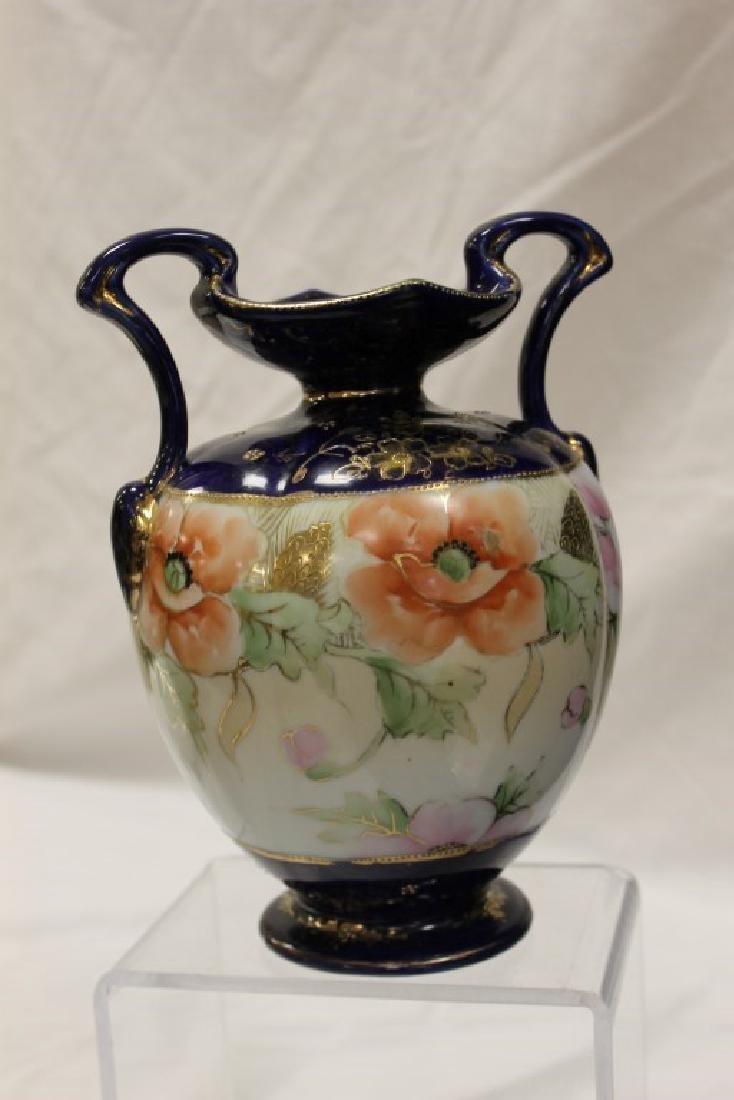 Nippon Blue M in wreath cobalt banded 2-handle vase - 3