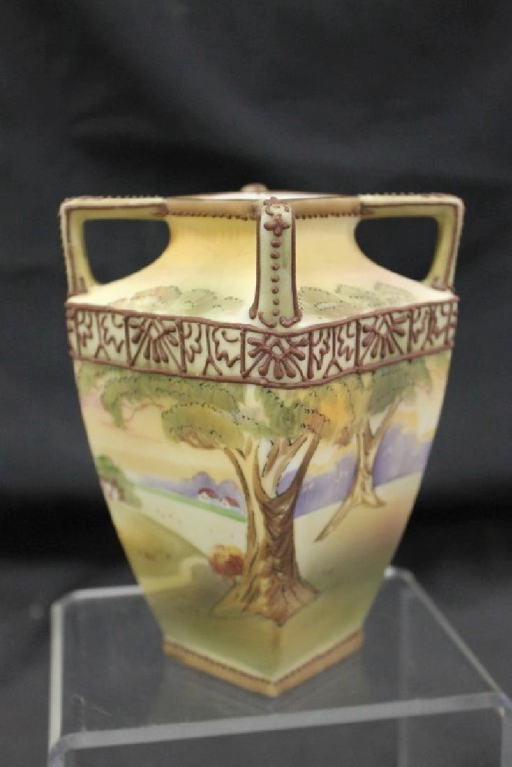 """Nippon Green M in wreath 5 3/4"""" vountry scene vase with"""