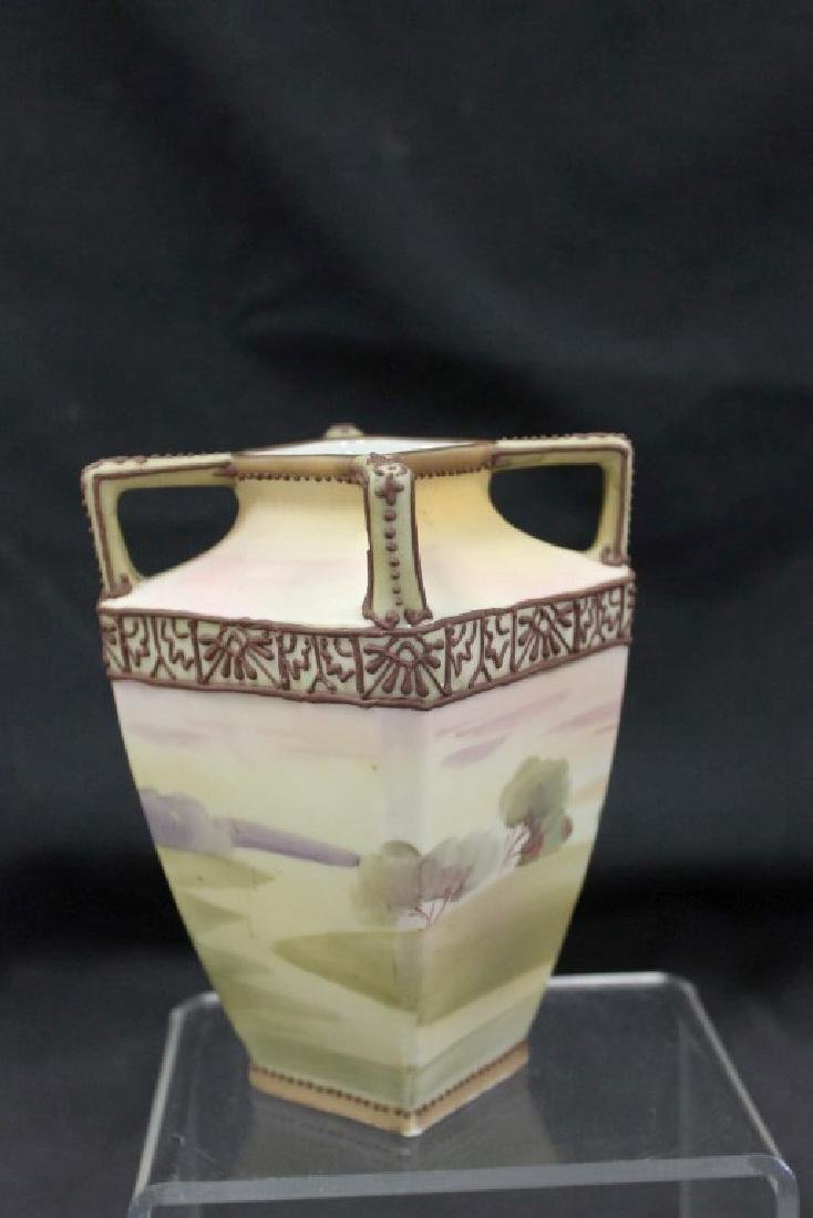 """Nippon Green M in wreath 5 3/4"""" vountry scene vase with - 3"""