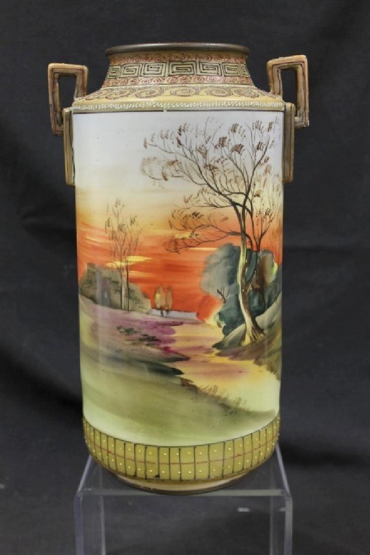 "Nippon E-Oh China 2-handle cylinder vase, app. 11 3/4"","