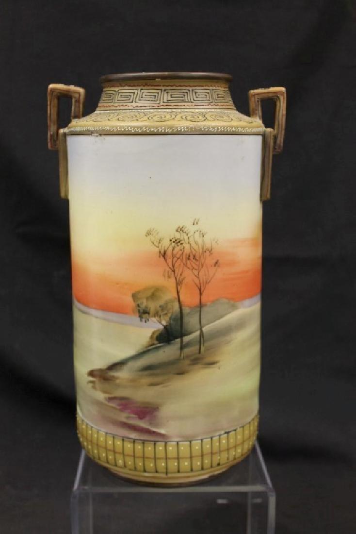 "Nippon E-Oh China 2-handle cylinder vase, app. 11 3/4"", - 3"
