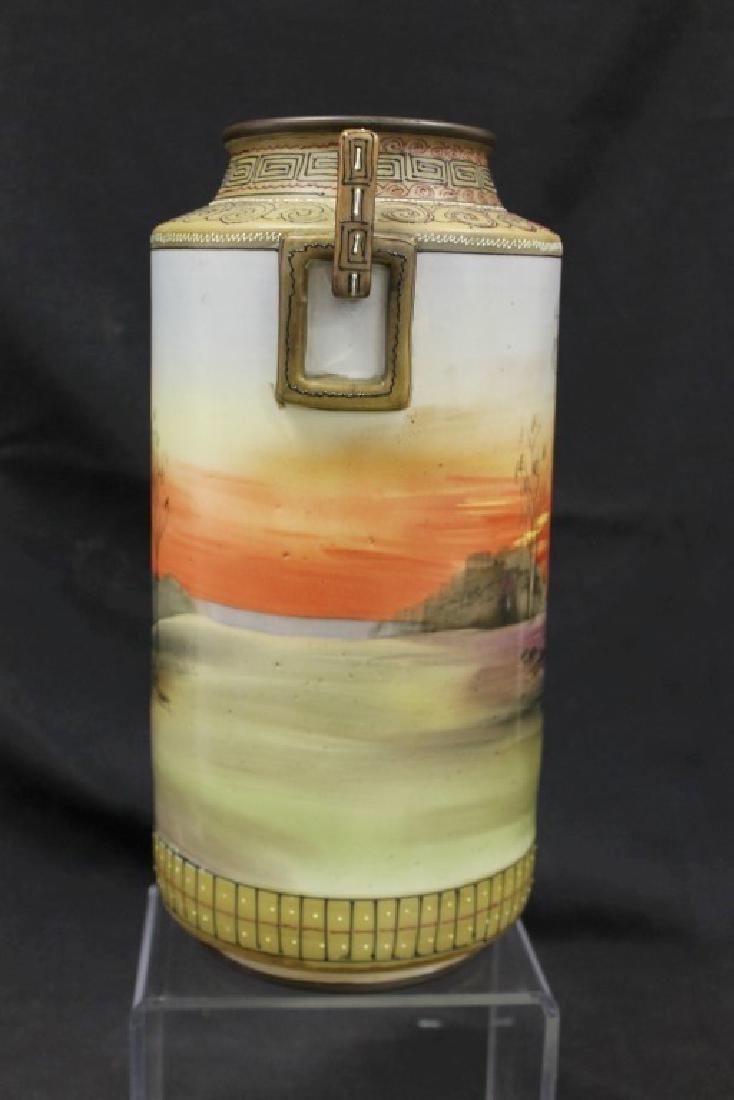 "Nippon E-Oh China 2-handle cylinder vase, app. 11 3/4"", - 4"