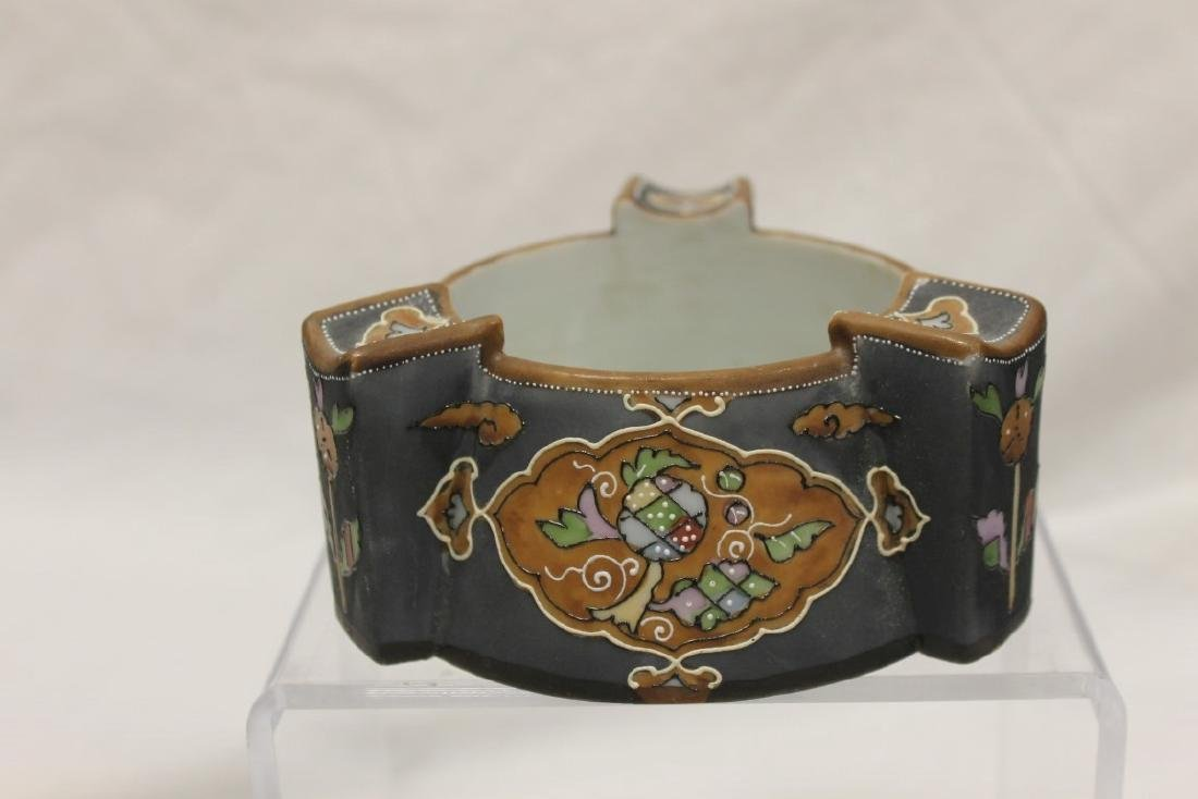 """Nippon Green M in wreath 2 1/2"""" cigar ashtray with line"""