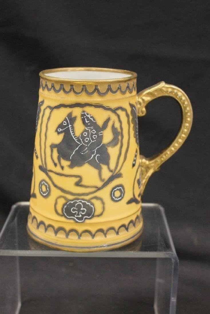 """Nippon Green M in wreath 5 3/8"""" mug with rider on horse"""