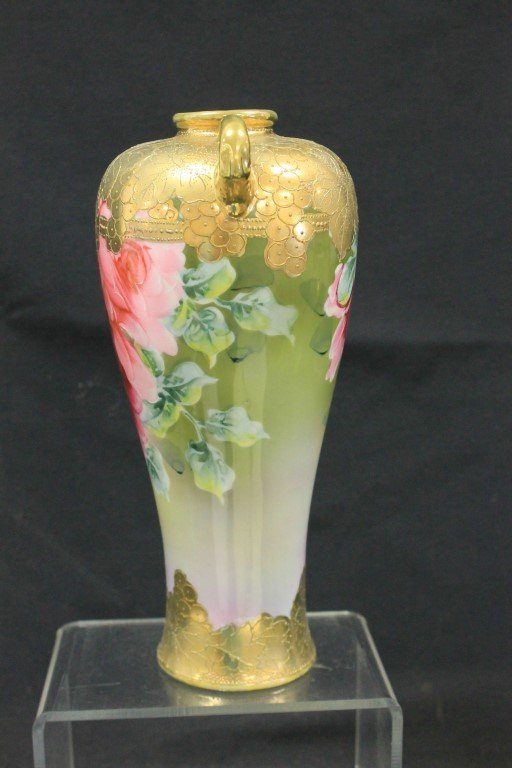 "Unmarked Nippon rose decorated 10 1/4"" vase - 2"