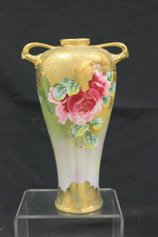 "Unmarked Nippon rose decorated 10 1/4"" vase - 3"