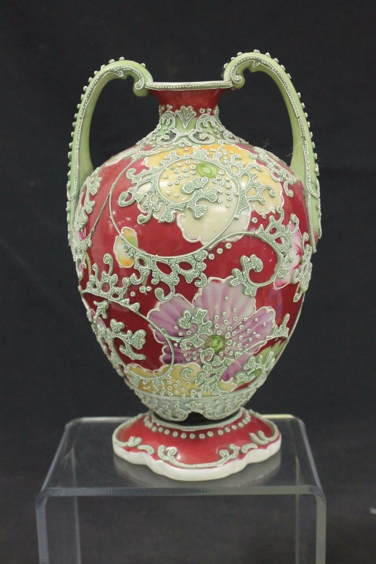 Unmarked Nippon two handled vase