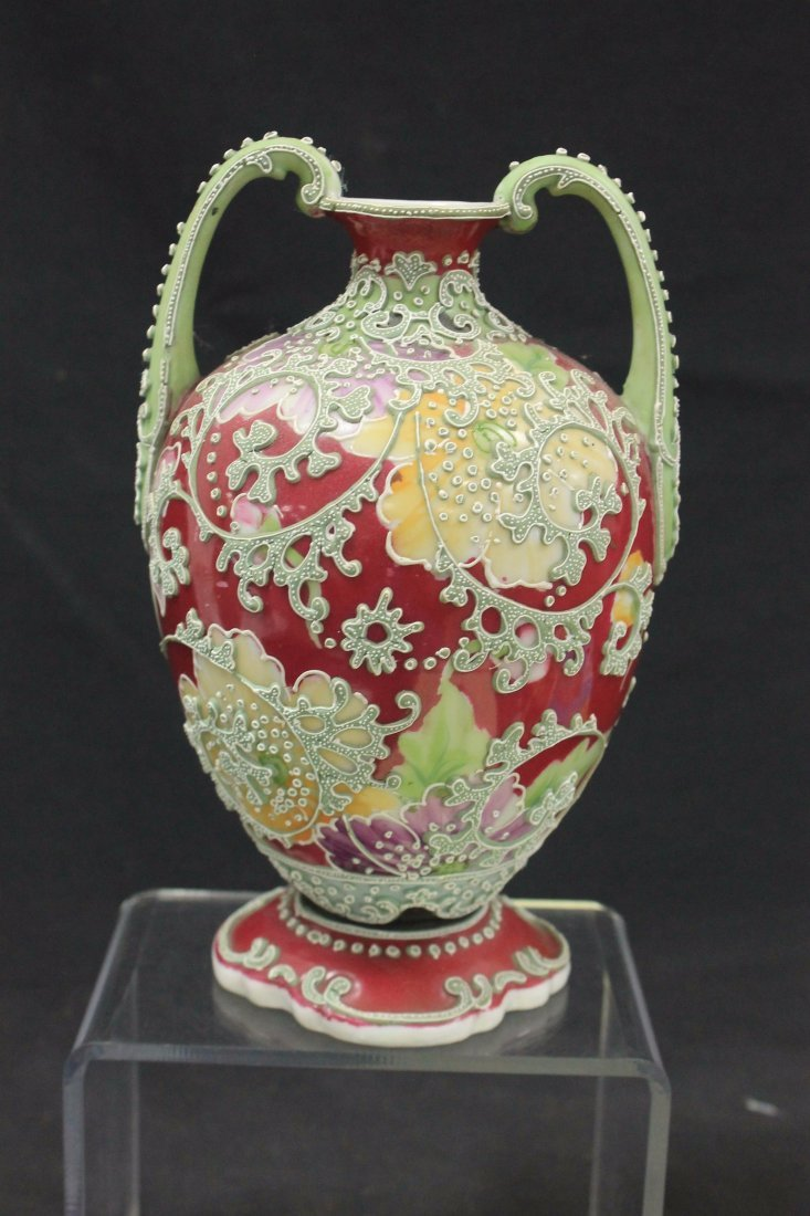 Unmarked Nippon two handled vase - 3