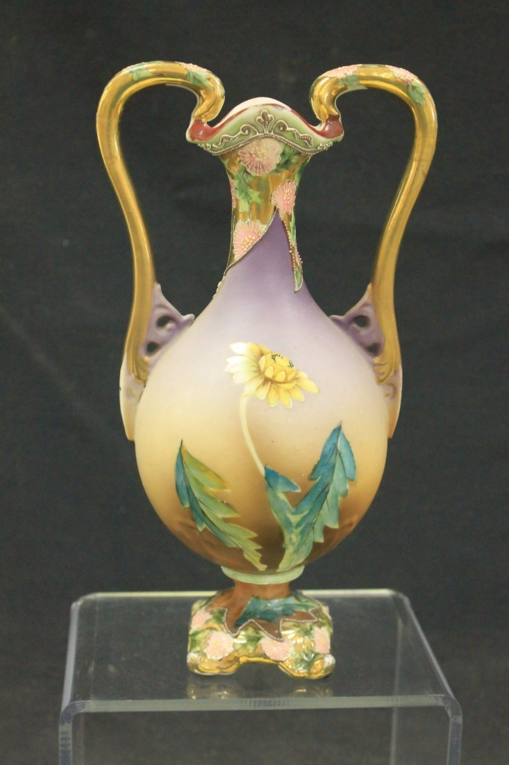 Unmarked Nippon bolted two handled vase - 3