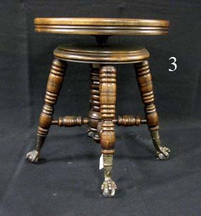 3: Claw foot mixed wood organ stool with revolving seat