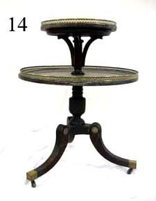 14: Mahogany two tier tri-pod table with revolving cent
