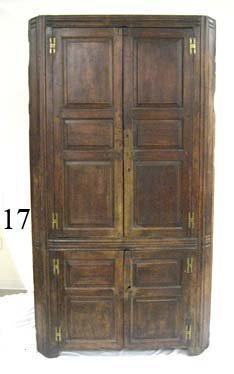 17: Walnut 12-pane corner cupboard with H-hinges.  88 1