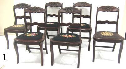 1: Set of 6 Willett Cherry rose back chairs with needle